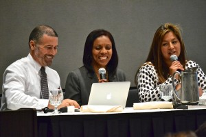 Laura Lacar (right), with two other members of the ABC Unified School District team, presenting at CalTURN (Spring 2013).