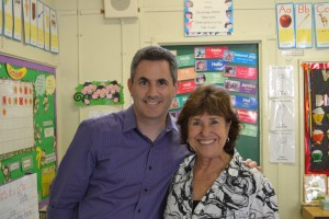 With my sixth-grade teacher, Sharon Schneider