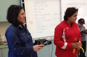 Ana Tintocalis and Smita Kolhatkar in the Barron Park Elem. maker space, Dec. 2014.