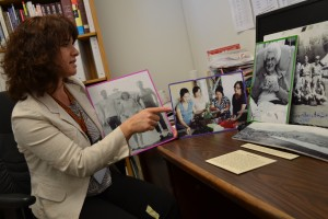 Merced High School librarian Sarah Morgan shows student work from an oral history project she  helped support.