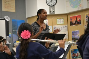 Genein Letford teaching a music class at NEW Academy, Canoga Park.