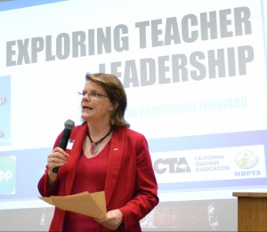 Linda Bauld, of the Stanford National Board Resource Center, is among those promoting certification and teacher leadership at the NBPTS Academy.
