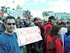 Attending a 2011 pro-labor rally in San Francisco (photo by Anthony Cody)