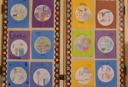 Gratitude mandalas from the classroom of Palo Alto teacher Jennifer Harvey.