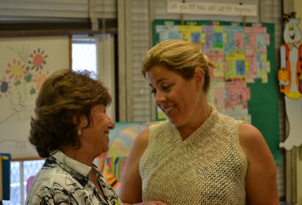 Sharon Schneider Barrish and Nikki Kanan discuss a lesson at Brentwood Science Magnet Elementary School.